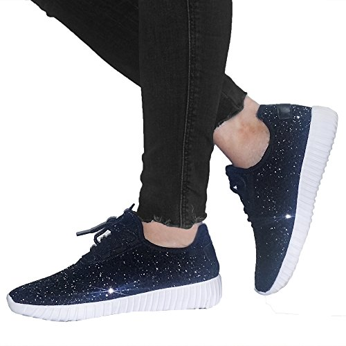 Snj Kvinna Platt Snörning Glitter Mode Glittrande Sneaker Svart Glitter