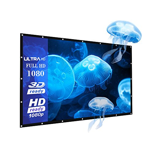 Portable 60 inch 16:9 Fabric Matte Projector Projection Screen, Joyhero 60' HD Basic Projector Screen with Hanging Hole for Outdoor/Indoor Home movie, Wall Projection Screen.(60')