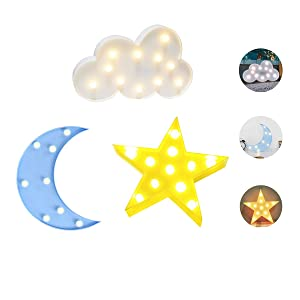 Luckiey Decorative LED Crescent Moon Star Cloud Night Lights for Kids and Adults, Baby Nursery, Birthday Party, Holiday Decorations, Kid's Room Decor