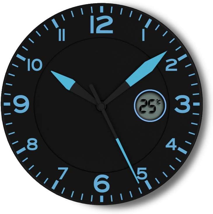FISHTEC ® Horloge Murale Design Moderne - Pendule avec Température Digitale - Convient pour la Cuisine, Bureau, Salon - 25 CM - Noir & Bleu