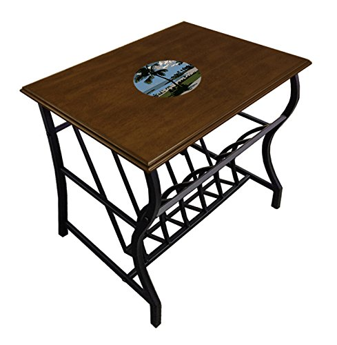 New Espresso / Cappuccino Finish Side End Table with Bottom Magazine Rack and Your Choice of Logo Theme! by The Furniture Cove