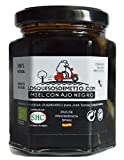 Losquesosdemitio - Honey with Organic Black Garlic (natural, healthy, eco-friendly and delicious, one jar, origin Spain, 240g)