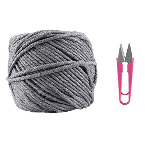 Macrame Cord, Kisslife Handmade Decorations Natural Cotton 4mm Soft Unstained Rope for Handmade Plant Hanger Wall Hanging Craft Making 109 Yards Cotton Gray Macrame Cord