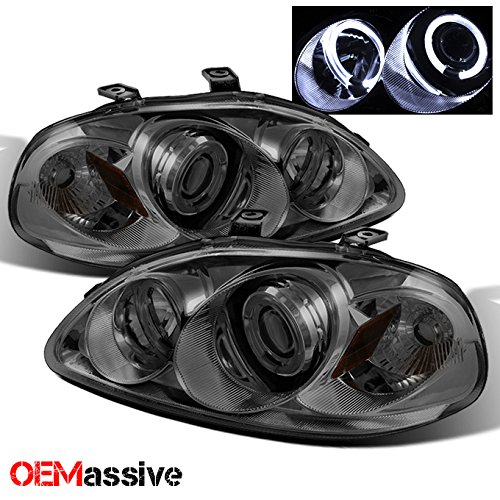 Civic Dual Halo Projector Headlights - For Honda Civic Black Bezel Dual Halo Ring Projector Headlights Head Lamps Replacement Left/Right Pair