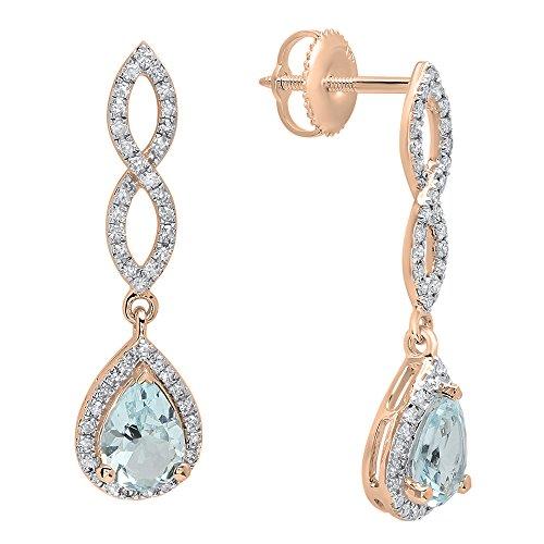 - Dazzlingrock Collection 14K 7X5 MM Each Pear Aquamarine & Round Diamond Ladies Infinity Dangling Drop Earrings, Rose Gold