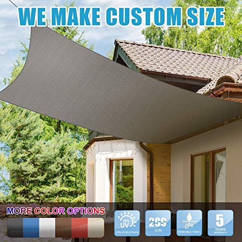 Amgo Custom Size 12 x 20 Custom Size Grey Rectangle Sun Shade Sail Canopy Awning, 95 UV Blockage, Water Air Permeable, Commercial and Residential, 5 Years Warranty Available for Custom Sizes