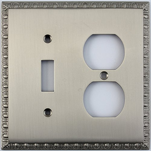 Dart Plate (Egg & Dart Satin Nickel Two Gang Combo Wall Plate - One Toggle Light Switch One Duplex Outlet)