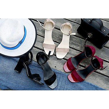 LvYuan Mujer Sandalias PU Verano Vestido Hebilla Tacón Robusto Negro Almendra Borgoña 5 - 7 cms Black