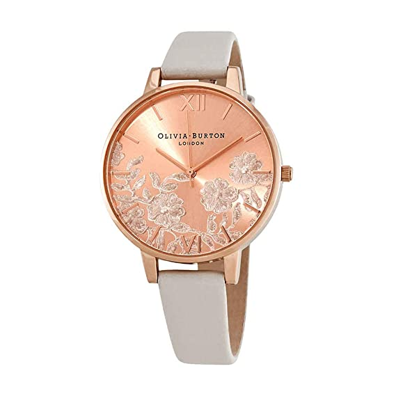 Amazon.com: Olivia Burton Lace Detail Blush Rose Gold Dial Ladies Watch OB16MV53: Watches
