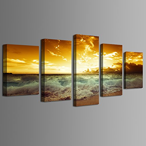 Haichuang Decor Art Canvas wall art HD Picture Print On Canvas Modern Giclee Artwork Home Decor Stretched and Framed Ready to Hang (Yellow beach scenery, 8x12x2pcs+8x16x2pcs+8x20inch x 1pcs)
