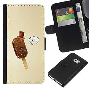 Planetar® Modelo colorido cuero carpeta tirón caso cubierta piel Holster Funda protección Para Samsung Galaxy S6 EDGE / SM-G925(NOT FOR S6!!!) / SM-G925(NOT FOR S6!!!) ( Funny Gentleman Ice Cream )
