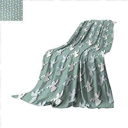 """Angel Digital Printing Blanket Christmas Angels Silhouettes on Striped Background Noel Yule Theme Summer Quilt Comforter 62""""x60"""" Pale and Almond Green White"""