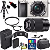 Sony Alpha a6000 Mirrorless Digital Camera with 16-50mm Lens (Silver) + Sony E 55-210mm f/4.5-6.3 OSS E-Mount Lens 64GB Bundle 21 - International Version (No Warranty)