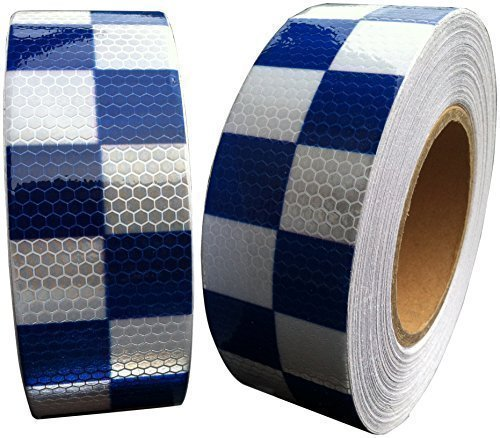 Hi Viz Intensity Grade Blue White Reflective Tape 50mm X 300mm Chequer Direct Products