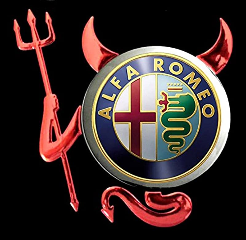 Alfa Romeo - Devil Teufel Auto Logo car Schwarze ärmellos T-Shirt Tank Top - 2204: Odzież