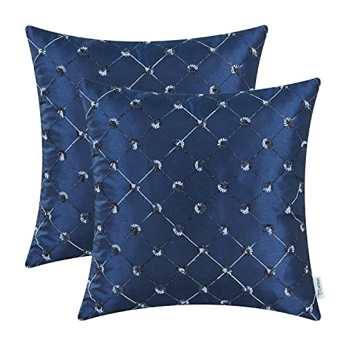 CaliTime Pack of 2 Cushion Covers Throw Pillow Cases Shells for Sofa Couch Home Decoration 18 X 18 Inches Modern Diamonds Shape Geometric Chain Embroidered Navy Blue ()