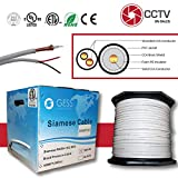 CCTV RG59 1000FT Bulk Siamese Coaxial Cable CCS Copper Clad Steel White 18/2 AWG Warranty Up to 5MP ETL Listed