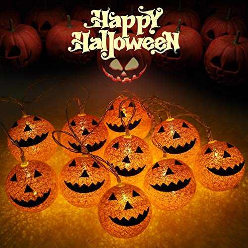Pumpkins For Halloween (OUSFOT Halloween Lights Battery Operated 10 LED Grimace Pumpkin Lights String Outdoor Indoor for Halloween Party Bedroom Porch Decoration (Pumpkin)