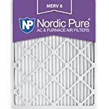 Nordic Pure 16x25x1M8-6 MERV 8 Pleated AC Furnace Air Filter, 16x25x1, Box of 6