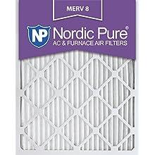 Nordic Pure 15x20x1M8-6 MERV 8 Pleated AC Furnace Air Filter, 15x20x1, Box of 6