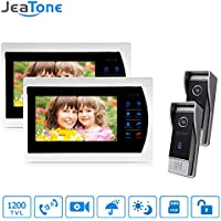 Jeatone 7 HD Touch button Video Hands-free 2 Monitor Intercom with 2 camera Night Vision Residential Security Kit Home