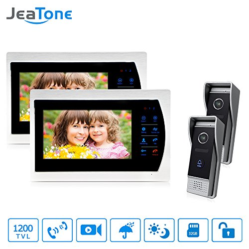 Jeatone 7'' HD Touch button Video Hands-free 2 Monitor Intercom with 2 camera Night Vision Residential Security Kit Home by Jeatone