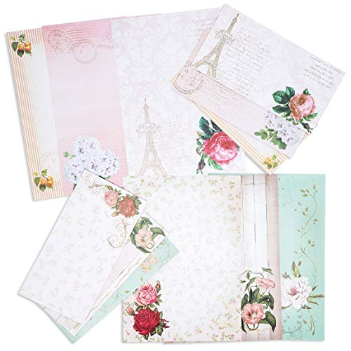 (Paper Junkie 60 Sheets One Sided Vintage Floral Letter Stationery 10.2 x 7.25 Inches with 30 Matching Envelopes 8.45 x 4.3 Inches)