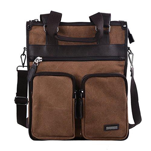 Douguyan Canvas Vertical Messenger Shoulder Bag Casual Tote Laptop Business Backpack for Men Women 235 brown