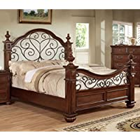 Furniture of America Emmental Poster Bed with Scrolling Metal Design, Queen, Antique Dark Oak