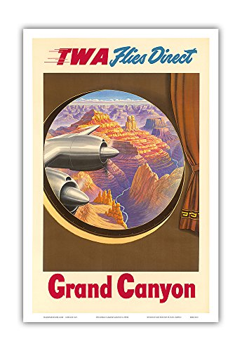 Grand Canyon, Arizona - Trans World Airlines TWA Flies Direct - Vintage Airline Travel Poster c.1950s - Master Art Print - 12in x 18in
