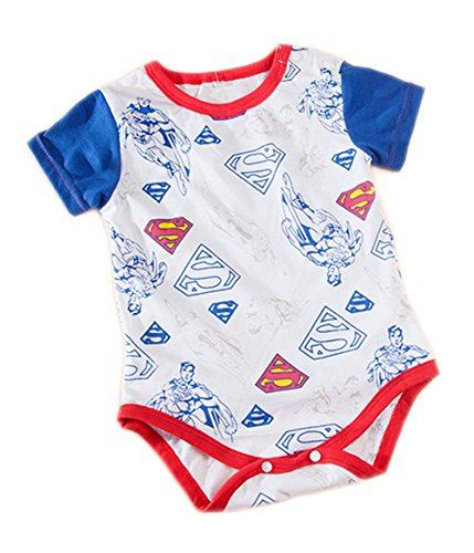 Stylesilove Super Heroes Baby Boy Costume Jumsuit (90/12-18 Months, White (Superman 12-18 Month Costume)