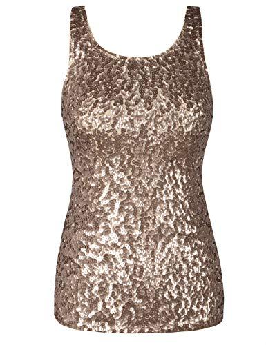 PrettyGuide Women Shimmer Glam Sequin Embellished Sparkle Tank Top Vest Tops M Champagne (Shimmer Sweater)