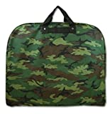 Green Camouflage Hanging Garment Bag with Metal Hook, Bags Central