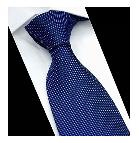 Mens Slim Solid Navy Blue Pin Woven Polyester Ties Casual Party Wedding Neckties ()
