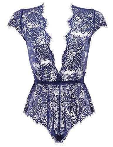 Anyou Womens Lingerie V Neck Lace Bodysuit Mini Babydoll Features Plunging Eyelash L-Dark Blue
