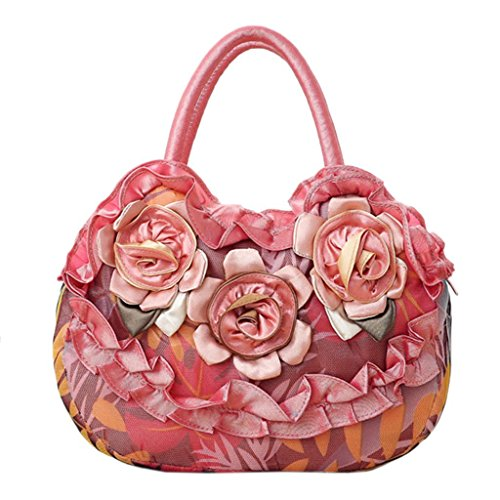 Toile Casual JAGENIE Simple Zipper Vif Orange Rouge Rose Sac Fleur Lady à Femmes Purse Main Pocket et Sac Shopping YxqY8RA