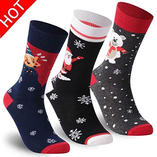 Holiday Dress Socks, Unisex Novelty Printed Festive Patterns Cartoon Casual Christmas Dress Gift Socks Winter Cozy Socks TXXM 3 Pairs(Fox&Stanta Claus&Bear) Thanksgiving gift (Pattern Cartoon Casual)