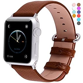 Apple Watch Bands 42mm, Fullmosa Yan Series Lichi Calf Leather Strap Replacement Band with Stainless Metal Clasp for iWatch Series 0 1 2 and Version 2015 2016, Brown