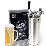 NutriChef Pressurized Growler Tap System - Stainless Steel Mini Keg Dispenser Portable Kegerator Kit - Co2 Pressure Regulator Keeps Carbonation for Craft Beer