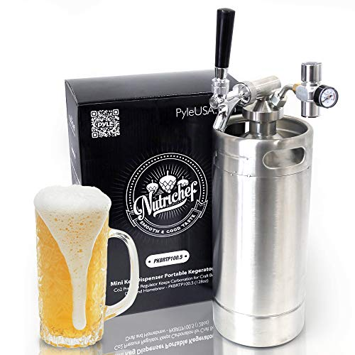 NutriChef Pressurized Growler Tap System - Stainless Steel Mini Keg Dispenser Portable Kegerator Kit - Co2 Pressure Regulator Keeps Carbonation for Craft Beer, Draft and Homebrew - PKBRTP100.5 (128oz) ()