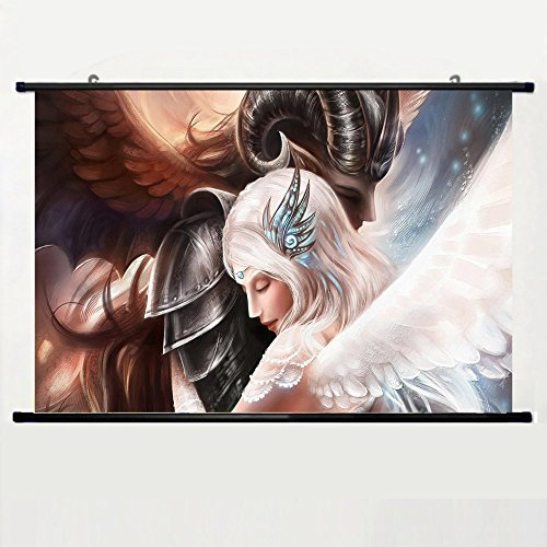Eyor Home Decor Art Cosplay DIY Prints Poster with Angels Hugs Tenderness Caring Wall Scroll Poster Fabric Painting 23.6 X 16.7 Inch (60cm X 40 cm)]()