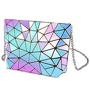 Tikea Geometric Chain Handbag – Fashion Crossbody Luminous or Cork Handbag, Zipper Chain Clutch and Envelope Chain Purse