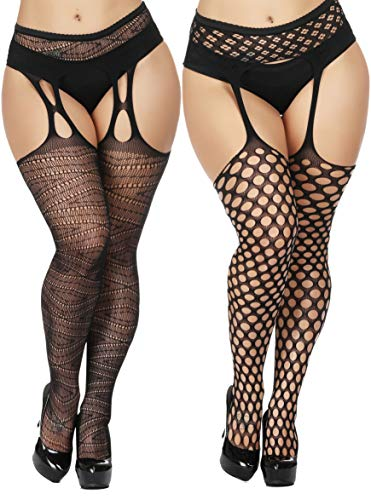TGD Womens Plus Size Stockings Suspender Pantyhose Fishnet Tights Black Thigh High Stocking 2Pairs Size(US 8-16) (Black 6673) -