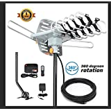 HDTV Antenna-SKYTV Amplified Digital TV Antenna 150 Miles Long Range Attic HD Antenna With 360° Rotation -Wireless Remote - 33FT Coaxial Cable for FM/VHF/UHF Channels(With Mount Pole)
