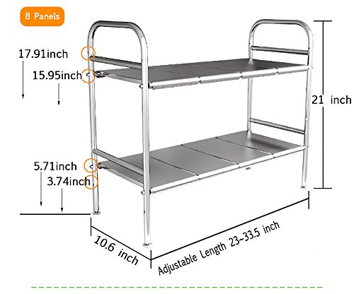 Heavy Duty SUS304 Stainless Steel kitchen/Basin Under-Sink Organizers Storage Shelf Rack ,Adjustable Height and Length and can Removable Panels (8 Panels)