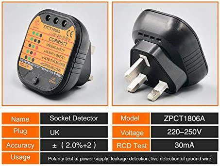 Black ZPCT1806A Outlet Socket Tester Detector Circuit Polarity Voltage Plug Breaker UK Ground Zero Line Switch Safety Electroscope