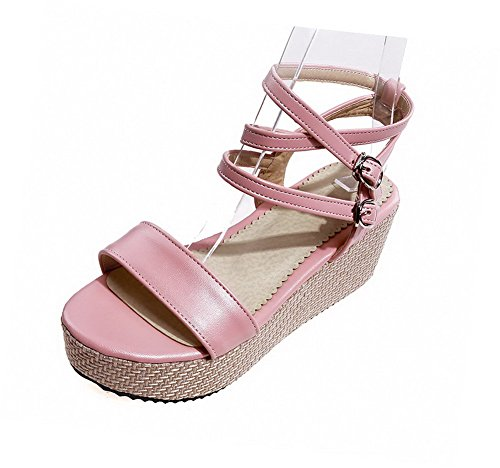 Sandals Pink Material Solid Open Women's Toe Buckle Heels VogueZone009 Soft Kitten FpCZ4qU