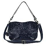 Womens Rose Embossed Leather Shoulder Bags Ladies Cross Purses Zipper Handbags Satchel (dark blue)
