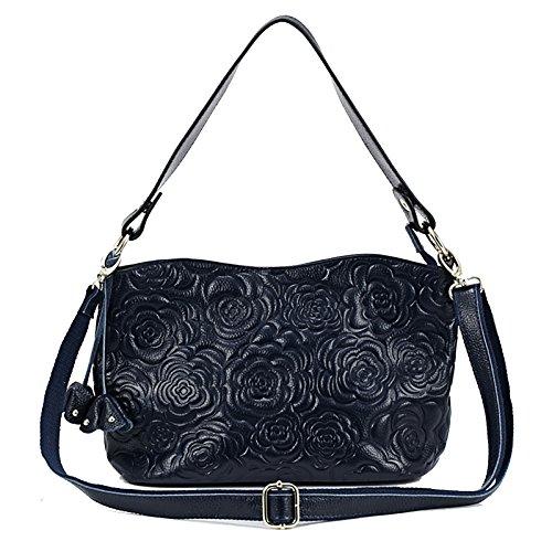 Womens Rose Embossed Leather Shoulder Bags Ladies Cross Purses Zipper Handbags Satchel (dark blue) -