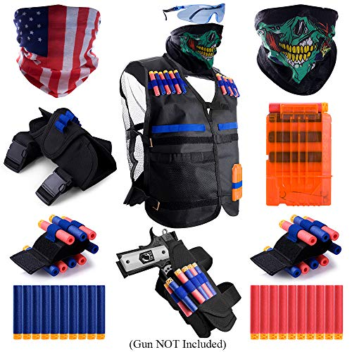 Gifts2U Kids Tactical Vest for Nerf Guns N-Strike Elite, Justice VS Evil Tactical Gears: Vest, Waist Bag, Wrist Bands, Quick Reload Clip, Masks, Protective Glasses, Refill Soft Darts for Boys